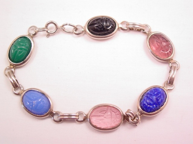Beautiful Natural Stone Scarab Bracelet