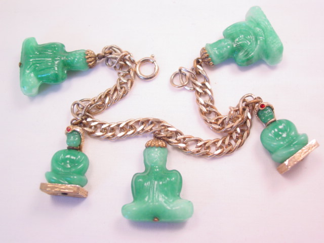 5 Jade-Colored Glass Buddhas Bracelet