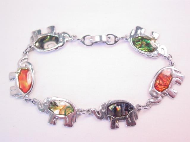 Abalone Elephant Link Bracelet