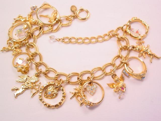Beautiful Kirk's Folly Cherubs and Rings Charm Bracelet