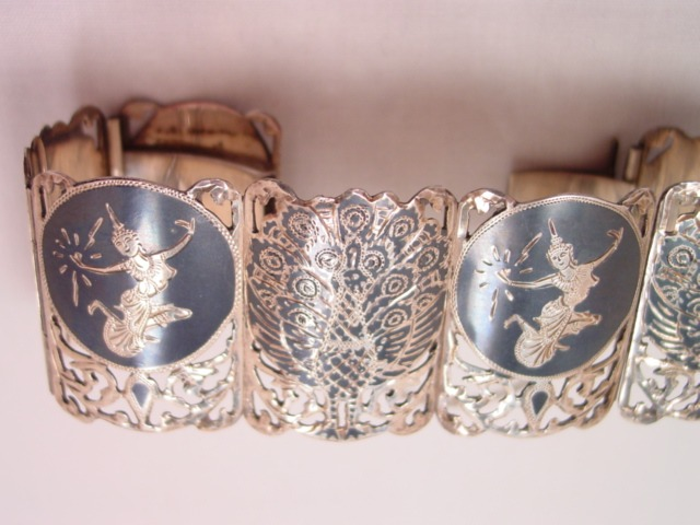 Wide Sterling Siam Bracelet with Peacocks and Siamese Dancers