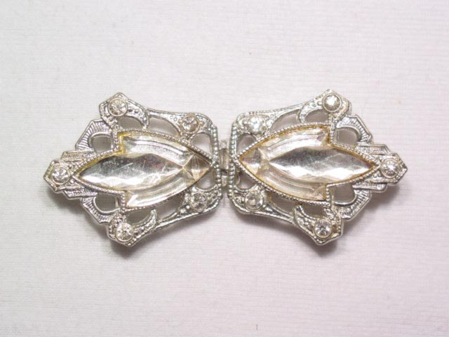 Art Deco Pot Metal Rhinestone Belt Buckle