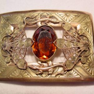 Spectacular Topaz and Lizards Belt Buckle