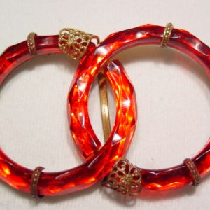 Czechoslovakian Red Glass Rings Belt Buckle