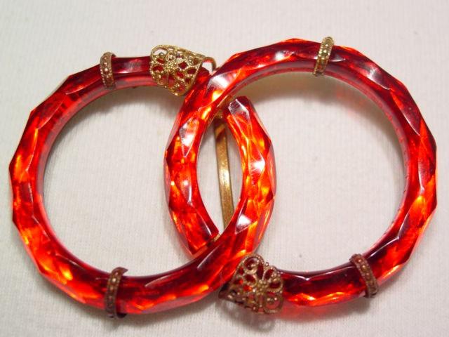 Czechoslovakian Red Glass Rings Belt Buckle