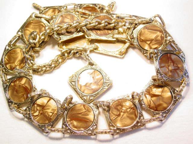 Goldtone Aluminum Pearlized Brown Plastic Belt