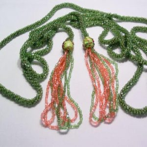 Green and Pink Glass Rope Belt