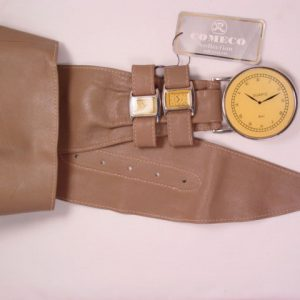 Extraordinary Taupe Leather Comeco Collection Clock/Watch Belt