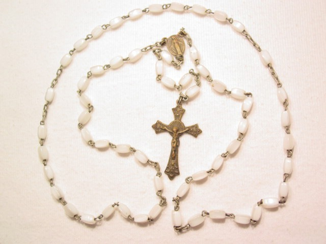 Small White Glass Rosary