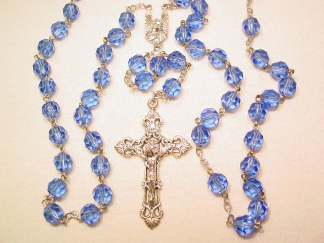 Blue Glass Silvertone Rosary