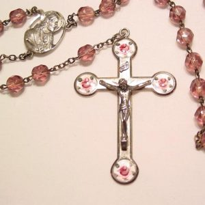 Sterling, Purple Glass, and Enamel Rosary