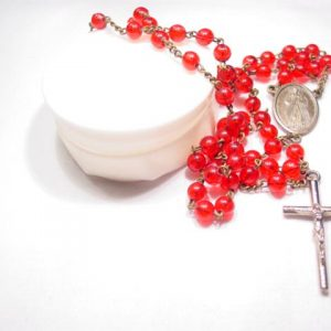 Red Plastic Rosary in Box