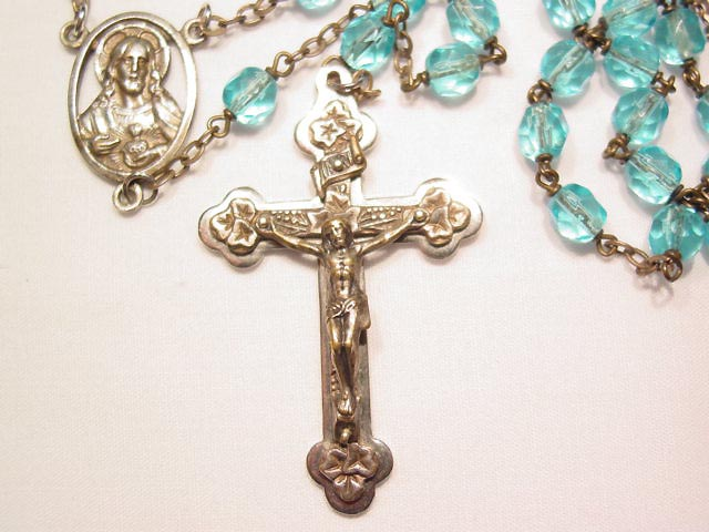 Aqua Glass Bead French Rosary