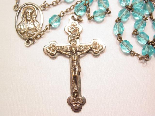 Aqua Glass Bead French Rosary