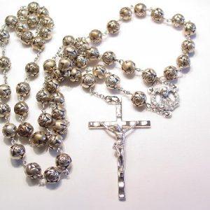 Silvertone Rose Bead Rosary