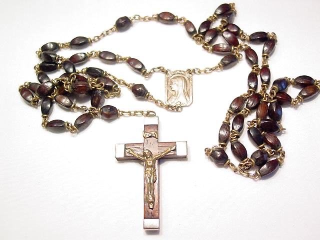 Dark Brown Wooden and Silvertone Rosary