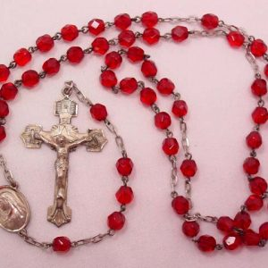 Sterling and Red Crystal Rosary