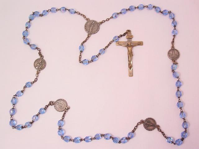 Italian Blue Aurora Borealis Crystal Our Lady Rosary