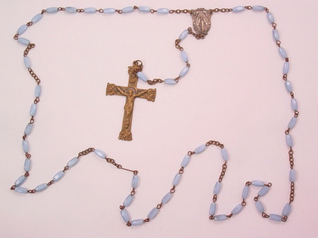 Pearly Pale Blue Glass Rosary