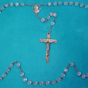Beautiful Clear Crystal Glass and Sterling Rosary