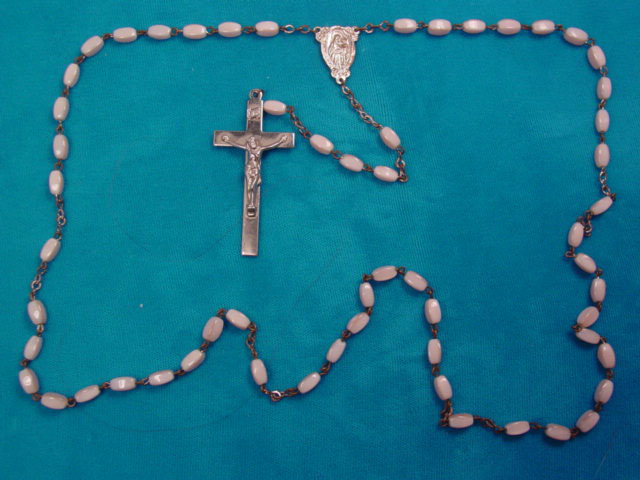 Pearly Pale Pink Glass Rosary
