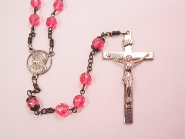 Bright Pink Glass Rosary