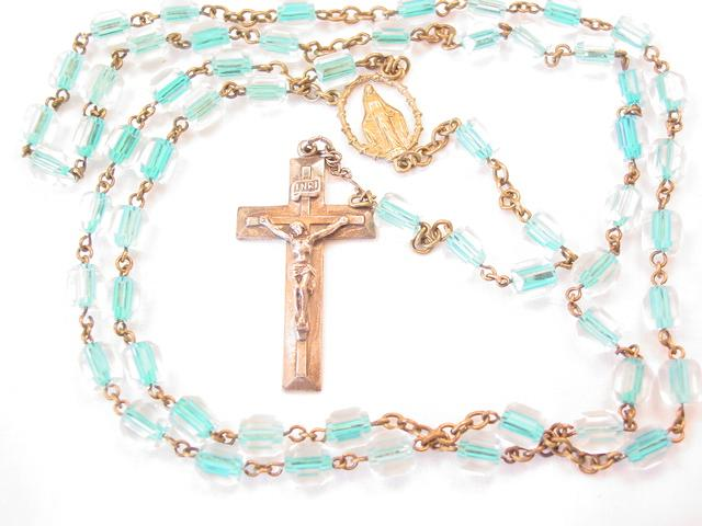 Old Clear and Blue Crystal Rosary
