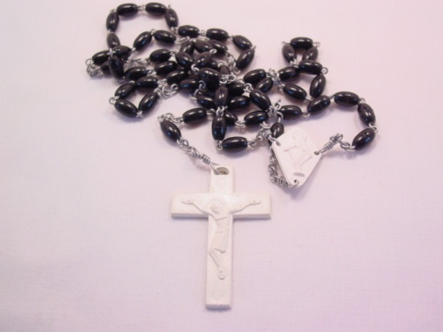 Black and White Plastic Rosary