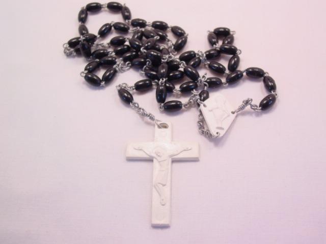 Black and White Plastic Rosary