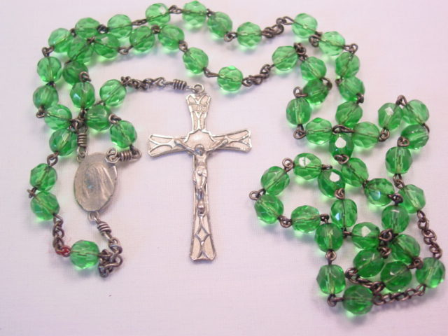 Green Glass and Silvertone Rosary
