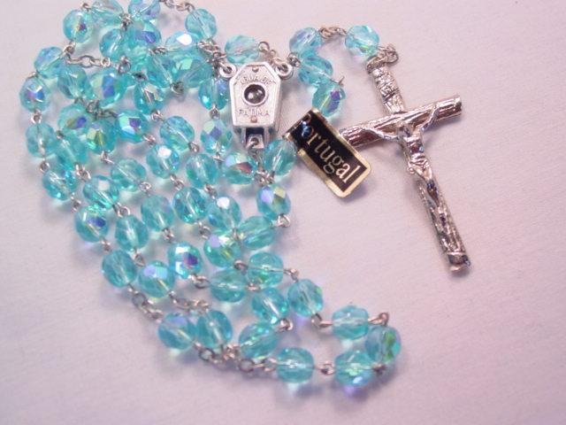 Ice Blue Aurora Borealis Agua de Fatima Rosary in Original Box