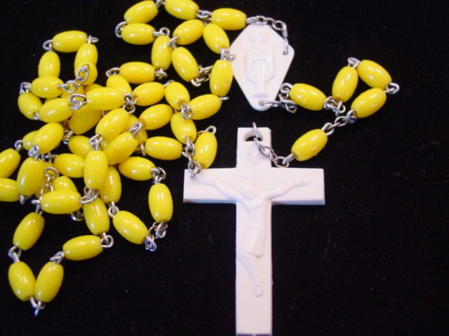 Yellow and White Plastic Rosary