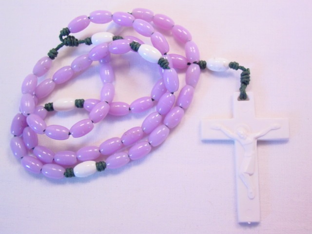 Lavender and White Plastic Rosary