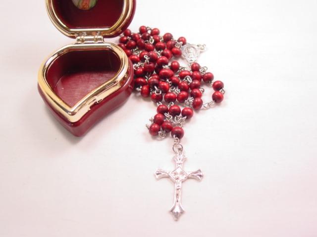 Dark Red Wooden Rosary in Original Box