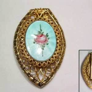 Old Enameled Filigree Dress Clip