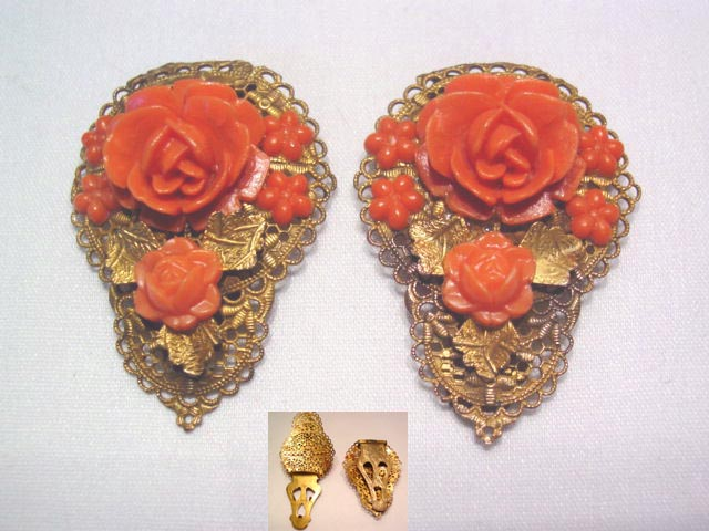 Old Coral Colored Plastic Rose Dress Clips