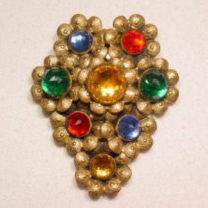 Old Floral Multi-Color Rhinestone Dress Clip