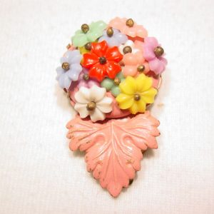 Old Multi-Color Floral Dress Clip