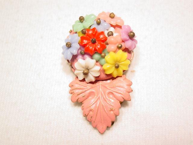 Old Multi-Color Floral Dress Clip