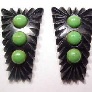 Black and Green Dot Bakelite Dress Clips