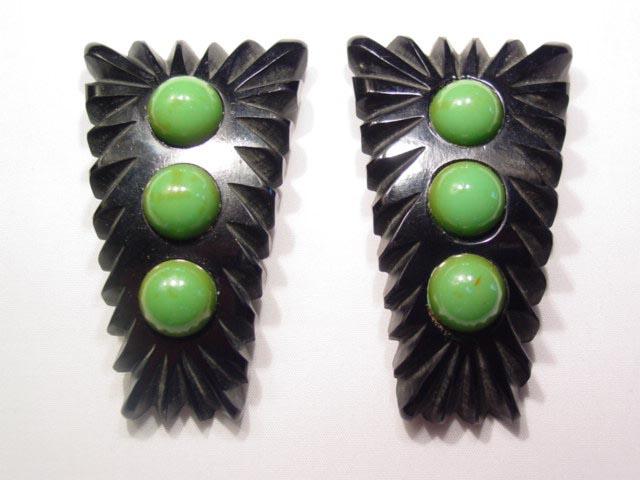 Black and Green Dot Bakelite Dress Clips