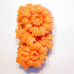 Chrysanthemum and Leaves Old Orange Plastic Dress Clip