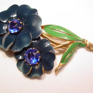 Dark Blue Flowers Fur Clip