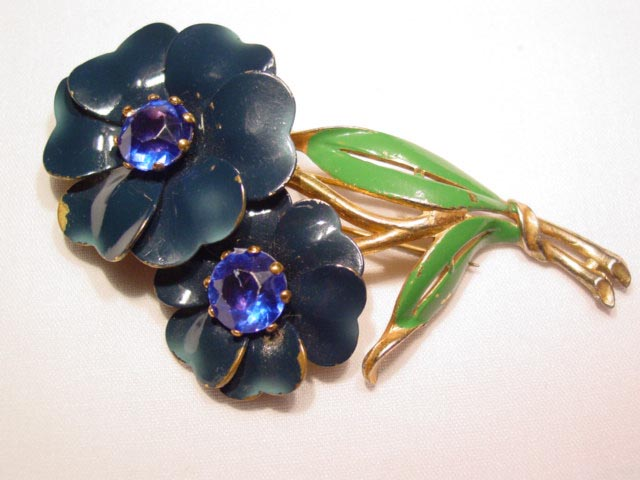 Dark Blue Flowers Fur Clip