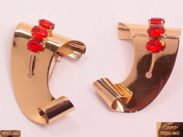 Gold-Washed Sterling Coro and Red Rhinestone Fur Clips