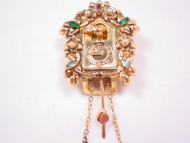 Unsigned Coro Jewelled Cuckoo Clock Dress Clip