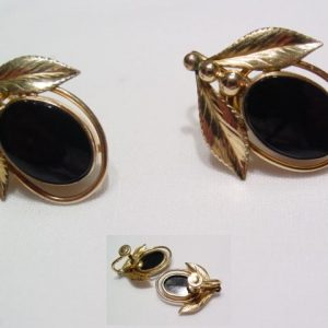 Gold Filled Black Earrings