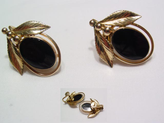 Gold Filled Black Earrings