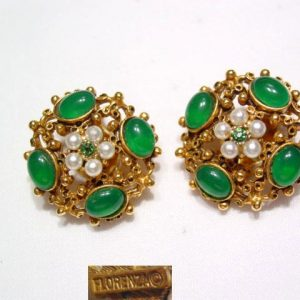 Florenza Green Filigree Earrings