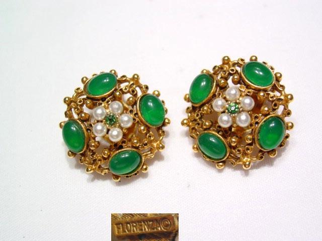 Florenza Green Filigree Earrings